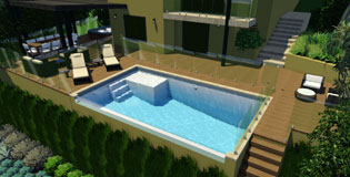 Modern swimming pool with glass window