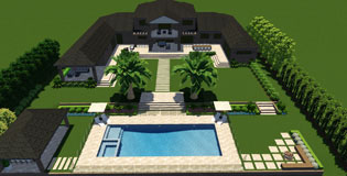 Acreage property with swimming pool and cabana