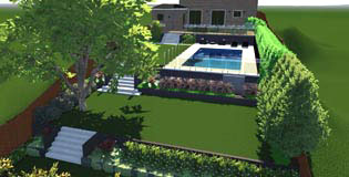 Terraced backyard with swimming pool