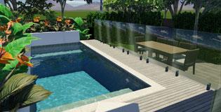 Inner City Pool Tropical Landscape